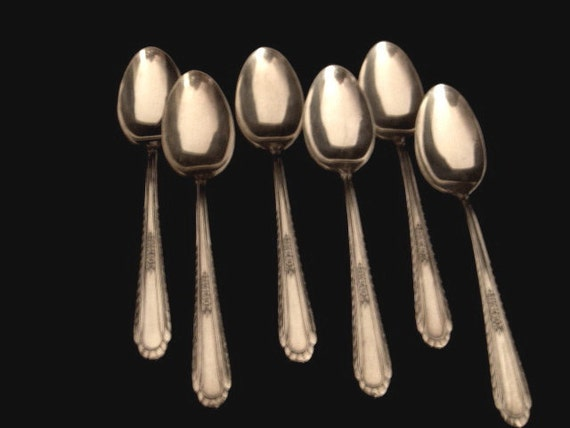 6 SILVERPLATE TEASPOONS Floral Design Made in USA by H T Mfg Co aka International Silver Vintage 1938 Wentworth Pattern