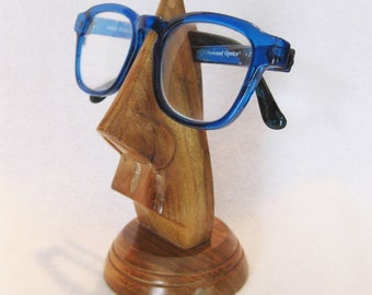 Wooden sculptuer eyeglass holder, apstract  hippster, funky and functional nose design