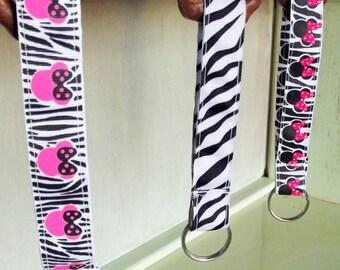 Disney's Minnie Mouse Pink & Zebra Print Ribbon Key Ring!