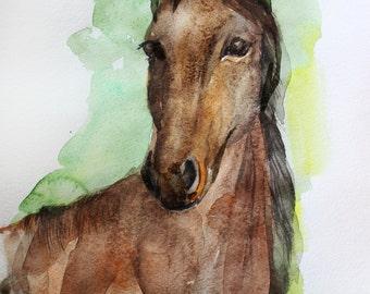 Sale ORIGINAL Watercolor, Horse art, Painting horse, wall decor, watercolor animal, Original Animal Art OOAK