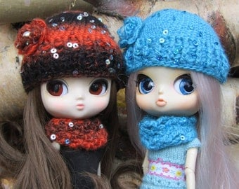 Crochet hat and snood set with sequin and flower detail for Pullip, Dal, Byul, Blythe and similar size dolls