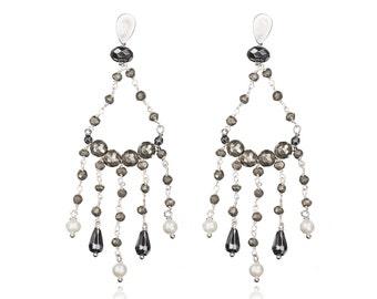 Chandelier rosary earrings
