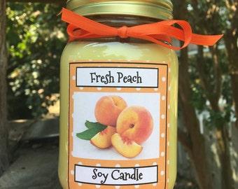 Farmers Market Fresh Peach candle.