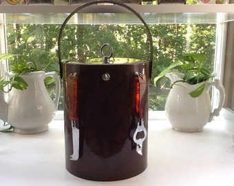 Georges Briard Tortoise Shell Ice Bucket with Tools