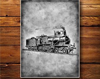Train Print, Locomotive Decor, Machinery Poster, Rustic Art BW276