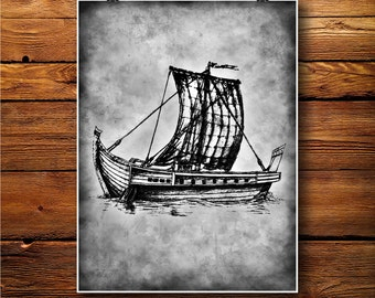 Ship Print, Sail Boat Decor, Gondola Poster, Vintage Illustration BW488