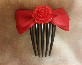 Rose hair bow comb