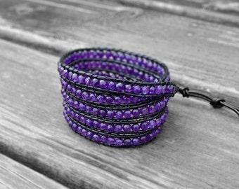 Leather Bracelet Wrap Bracelet Cuff Bracelet Leather Wrap Bracelet 4mm Beaded Bracelet Wedding Gift