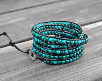 Leather Bracelet Mediterranean Green Wrap Bracelet Beaded Bracelet Leather Wrap Bracelet with Black Leather Cord