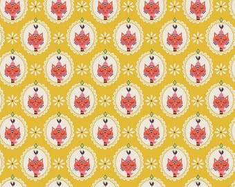 Kitchen Cat Yellow - Vintage Kitchen - Riley Blake RBD fabric by the yard