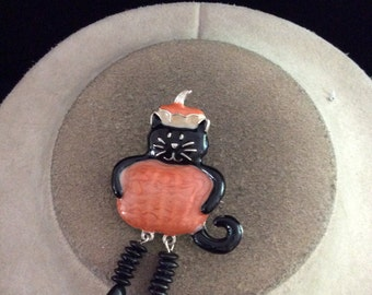 Vintage Halloween Enameled Cat Dressed As A Pumpkin With Dangling Legs Pin