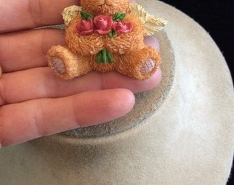 Vintage Angel Teddy Bear With Red Roses Pin