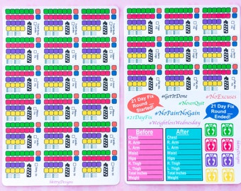 Workout/Meal Tracker Stickers for your ECLP, Happy Planner, Filofax or PPP - 45 Stickers (All Calorie Levels)