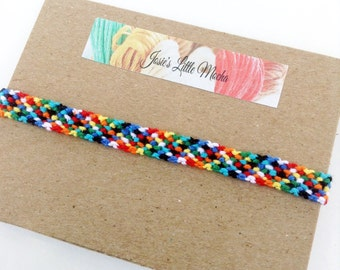 Colorful friendship bracelet / Rag rug bracelet / summer fashion bracelets / Handmade bracelets / knotted macrame friendship bracelet