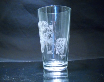 FREE SHIPPING - Sandcarved Grizzly Mama & Cub By Karrie Hill