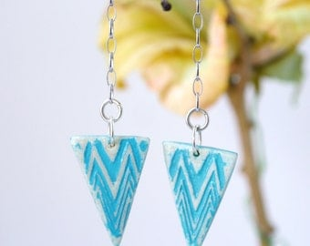Cerulean blue asymmetric clay earrings/ triangle dangly chain earrings/gifts for her.JE42-115