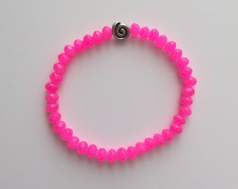Beaded Bracelet, Stretchy, Faceted Hot Pink Crystal Beads