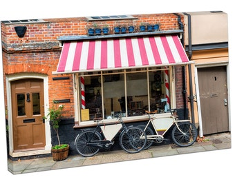 Traditional barber shop with bicycles outside Print on canvas XT2578