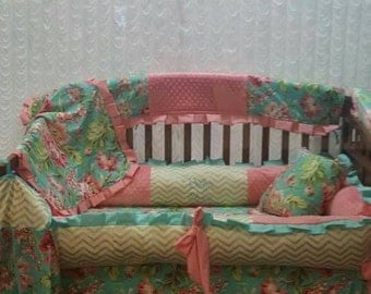 Coral and teal crib set
