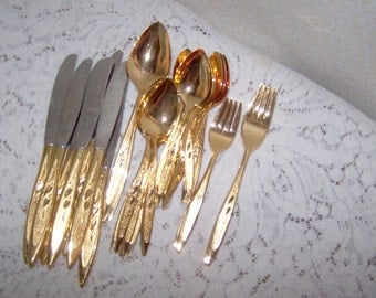 Gold Flatware Silverware Mid Century Golden Royal Harvest Forever Stainless Oneida 60s 70s  1960 1970 Vintage Flatware Hollywood Regency