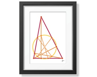 Nine point circle 09 (mathematical art print, unframed)