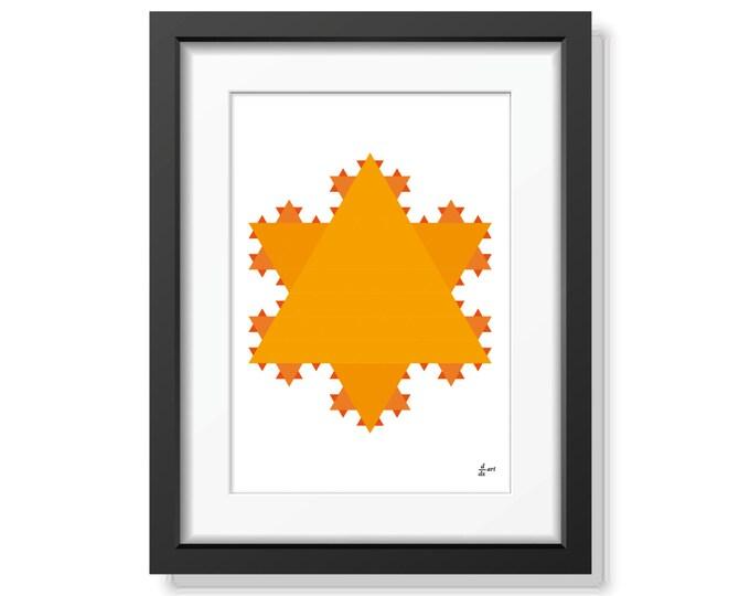 Koch star 10 [mathematical abstract art print, unframed] A4/A3 sizes