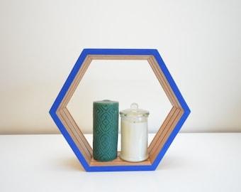 Blue Hexagon Shelf - Medium Without Insert