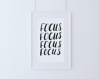 Wall Art - Focus Focus Focus - Brush Lettering - Calligraphy
