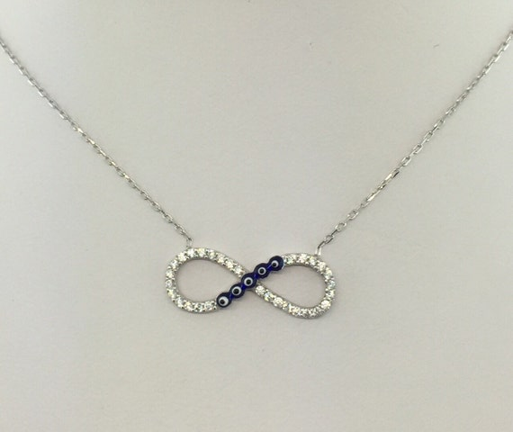 Sterling Silver Infinity Evil Eye Cubic Zirconia Necklace