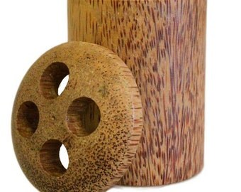 Rustic Coconut Wood Toothbrush Holder