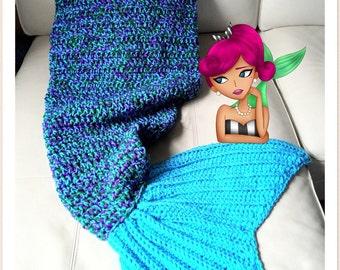 Adult Large Mermaid Tail Blanket, Crochet Mermaid Blanket, Crochet Mermaid Afghan