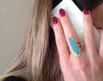 Gemstone Ring , Turquoise Ring, Gold Filled Ring, Adjustable ring