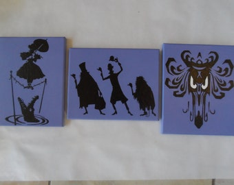 Haunted Mansion Hand Painted Canvas / Wall Art / Set of 3 Stretching Portrait Hitchhiking Ghost, Wallpaper, Disney