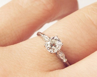 SOLD Fleur 0.55 ct Old Mine Cut Diamond and Platinum Engagement Ring