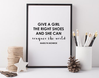 Marilyn Monroe Shoes Art Print - A4 Shoe Art Print - Shoe Quote