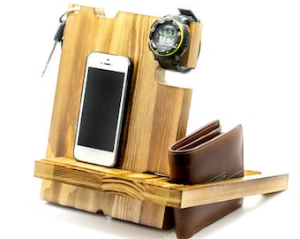 charging station organizer,wood charging station,wooden docking station,multiple charging station,Electronics & Accessories,Docking Stations