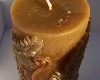 Large Beeswax Fern Pillar Candle