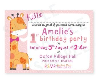 Girls 1st Birthday invitation, printable invitation, digital invitation, personalised invitation,