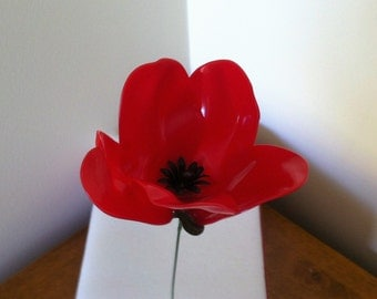 Remembrance Poppies, handmade long lasting,wire stem, inside/outside, Remembrance Gift.