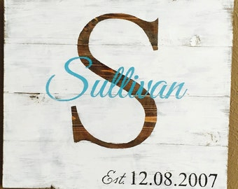 Monogram and Wedding Date Wood Sign