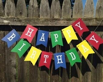 Boy birthday banner. Boy 1st birthday banner. Happy Birthday banner. Primary colors birthday banner. Rainbow colors birthday banner.