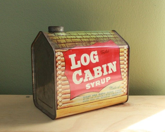Log cabin syrup rare s tin frontier inn