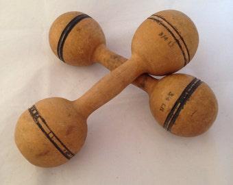 Wooden Dumbbells ca 1900 (pair)