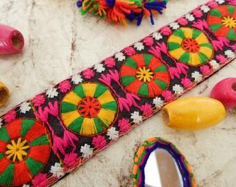 Black Embroidered Trim, Mandala Trim, Indian Fabric Trim, Ethnic Embroidered Trim, Indian Ribbon - 1 yard