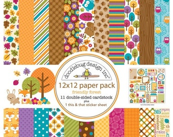 Doodlebug Friendly Forest Collection, 12x12 Paper Pack
