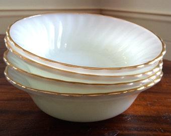 Anchor Hocking Milk Glass Bowls - White Milk Glass Dessert Bowls