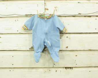 vintage 1960s retro baby blue rainbow stripes baby suit 0-3 months