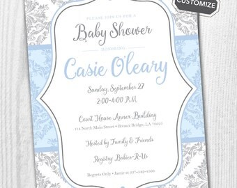 Blue and Gray Damask Baby Shower Printable Invitation { Blue and Gray } { Script }