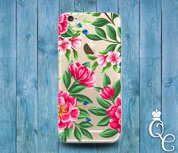 iPhone 4 4s 5 5s 5c SE 6 6s 7 plus iPod Touch 4th 5th 6th Gen Clear Cover Custom Pretty Flower Green Pink Transparent Girl Tropic Phone Case