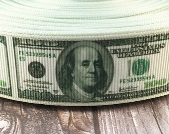 "1"" Money ribbon - Benjamin Franklin - About the Benjamins - DIY money bow - Money craft supplies - 100 dollar bill - US currency - Ribbon"